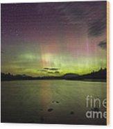 Northern Lights Over Ricker Pond Wood Print