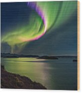 Northern Lights Over Thingvallavatn Or Wood Print