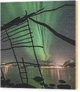 Northern Lights Rays Wood Print