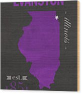 Northwestern University Wildcats Evanston Illinois College Town State Map Poster Series No 080 Wood Print