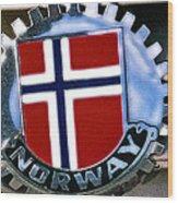 Norway Car Emblem Wood Print