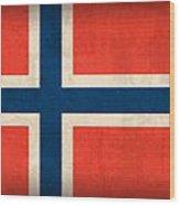 Norway Flag Distressed Vintage Finish Wood Print