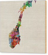 Norway Watercolor Map Wood Print by Michael Tompsett