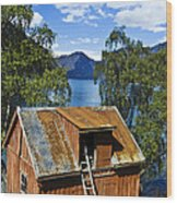 Norwegian Barn House Wood Print