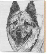 Norwegian Elkhound Sketch Wood Print