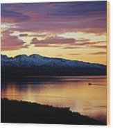 Norwegian Fjordland Sunset Wood Print