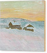 Norwegian Landscape, Blue Houses, 1895 Wood Print