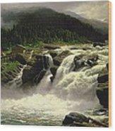 Norwegian Waterfall Wood Print by Karl Paul Themistocles van Eckenbrecher