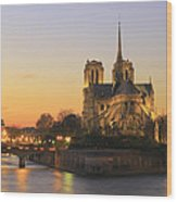 Notre Dame Cathedral At Sunset Paris France Wood Print