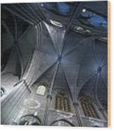 Notre Dame Ceiling In Blues Wood Print