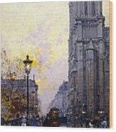 Notre Dame De Paris Wood Print by Eugene Galien-Laloue