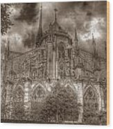 Notre Dame From East Garden Wood Print