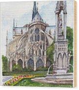 Notre Dame Paris In Spring Wood Print