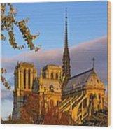 Notre Dame Sunrise Wood Print