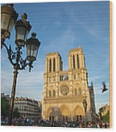 Notre Dame Tourists Wood Print