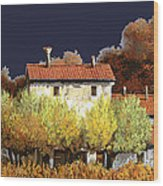 Notte In Campagna Wood Print