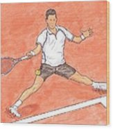 Novak Djokovic Sliding On Clay Wood Print by Steven White
