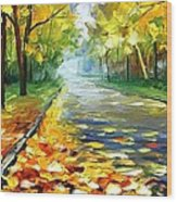 November Alley - Palette Knife Landscape Autumn Alley Oil Painting On Canvas By Leonid Afremov - Siz Wood Print