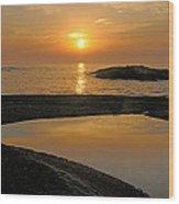 November Sunrise II - Lake Superior Wood Print by Sandra Updyke