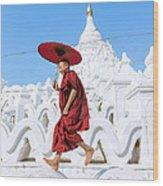 Novice Monk Jumping On White Pagoda - Mandalay - Burma Wood Print