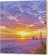 Nsb Lifeguard Station Sunrise Wood Print