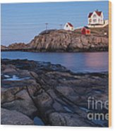 Nubble Light Along Maine's Rugged Coast York Beach Maine Wood Print