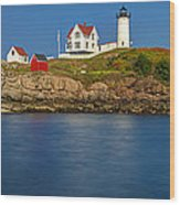 Nubble Light And A Clear Blue Sky Wood Print