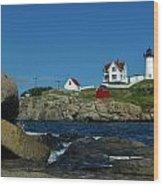 Nubble Light House York Beach Maine Wood Print