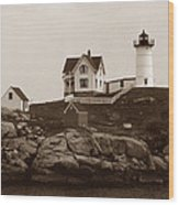 Nubble Light Wood Print by Skip Willits