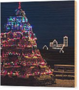 Nubble Lighthouse And Lobster Pot Tree Wood Print
