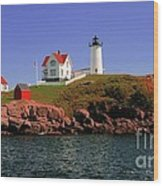 Nubble Lighthouse-cape Neddick Wood Print