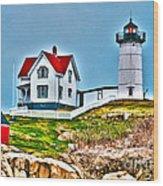 Nubble Lighthouse Cape Neddick Maine 2 Wood Print