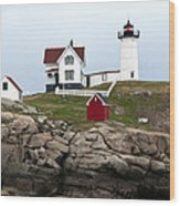 Nubble Lighthouse Cape Neddick Maine 4 Wood Print