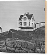 Nubble Lighthouse Cape Neddick Maine Black And White Wood Print