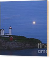 Nubble Lighthouse Evening Wood Print