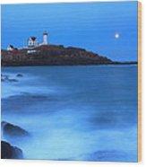 Nubble Lighthouse Full Moon Tide Wood Print