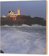 Nubble Lighthouse Holiday Lights And High Surf Wood Print