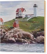 Nubble Lighthouse In Pastel Wood Print by Jack Skinner