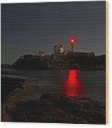 Nubble Lighthouse Lit By The Full Moon Wood Print