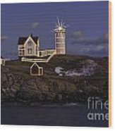 Nubble Lighthouse Ll Wood Print