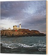 Nubble Lighthouse Wood Print by Skip Willits