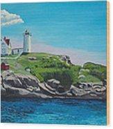 Nubble Lighthouse Sunrise Wood Print