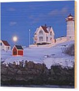 Nubble Lighthouse Winter Moon Wood Print by John Burk