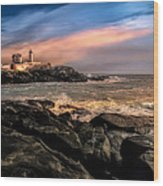 Nubble Lighthouse Winter Solstice Sunset Wood Print