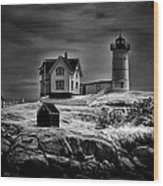 Nubble Night Wood Print by Tricia Marchlik