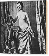 Nude And Curtains, C1850 Wood Print