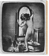 Nude And Mirror, C1850 Wood Print