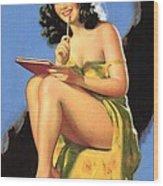 Nude Brunette II Wood Print