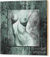 Nude Details - Digital Color Version Frame Aqua Black Wood Print