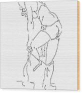 Nude Female Drawings 1 Wood Print